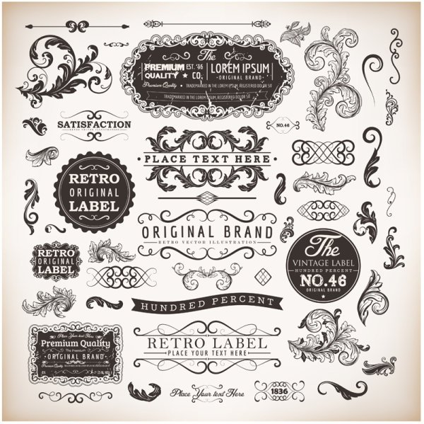 Vintage labels and Borders vector 01