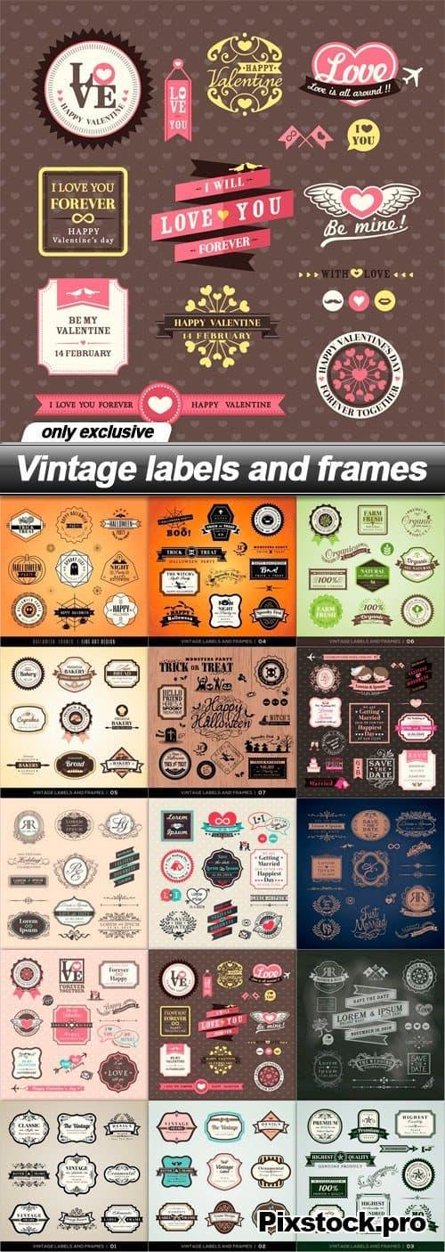 Vintage labels and frames – 15 EPS