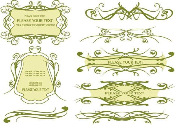 Vintage lace vector Borders 03