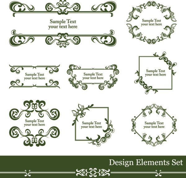 Vintage lace vector Borders 01