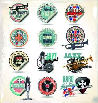 Vintage music sticker vector 02