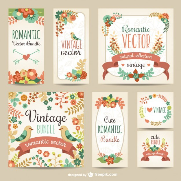 Vintage romantic pack  Vector | Free Download