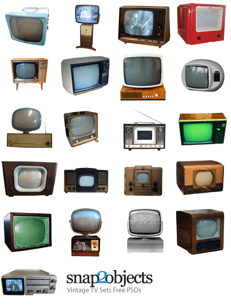 22 Vintage TV Sets Free PSDs