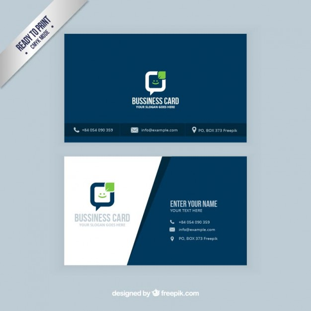Visit card in navy blue color Vector | Free Download