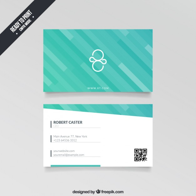 Visit card with turquoise stripes  Vector | Free Download