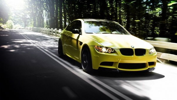Wallpaper Auto, Bmw m3, Yellow, Road, Forest, Summer HD