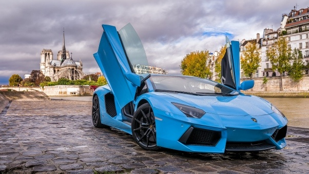 Wallpaper Lamborghini, Aventador, Blue, Paris HD