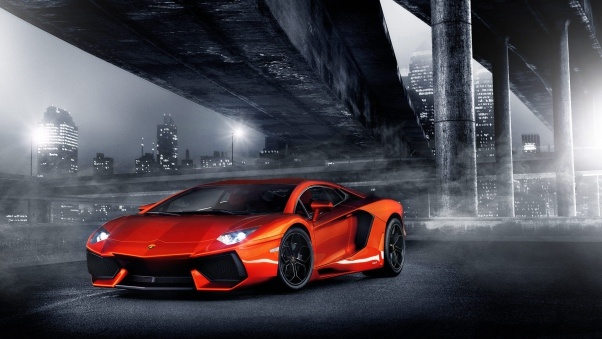 Wallpaper Night, Lights, Aventador, Columns, Bridge, Lamborghini, Orange,  city HD