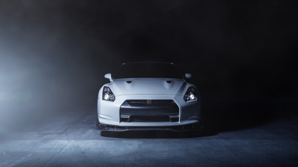 Wallpaper Nissan, Gt-r, R35, White, Front, Smoke HD