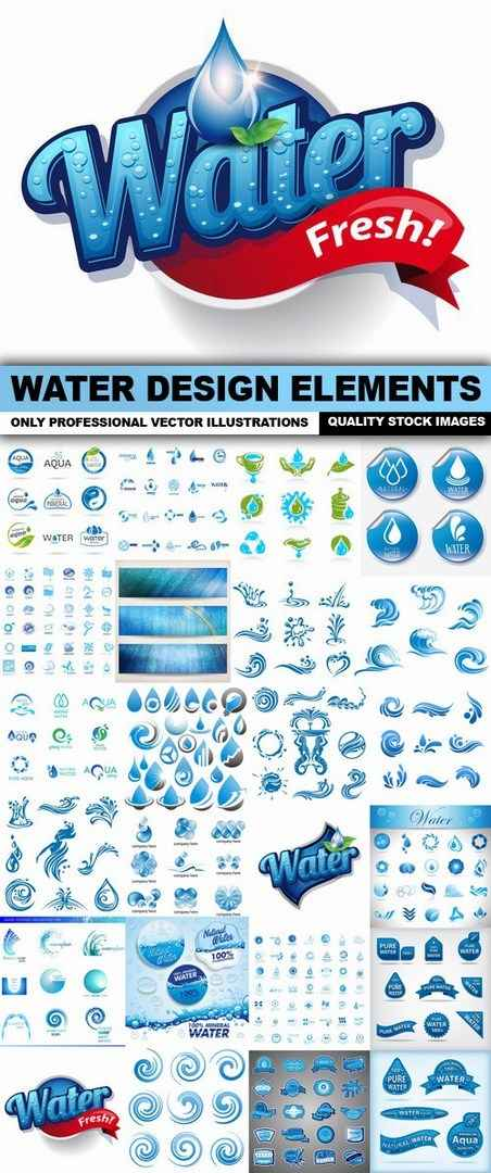 Water Design Elements – 25 Vector