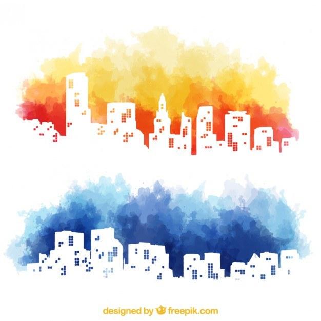 Watercolor city skyline