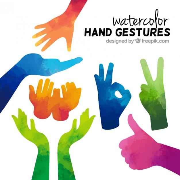Watercolor hand gestures  Vector   Free Download