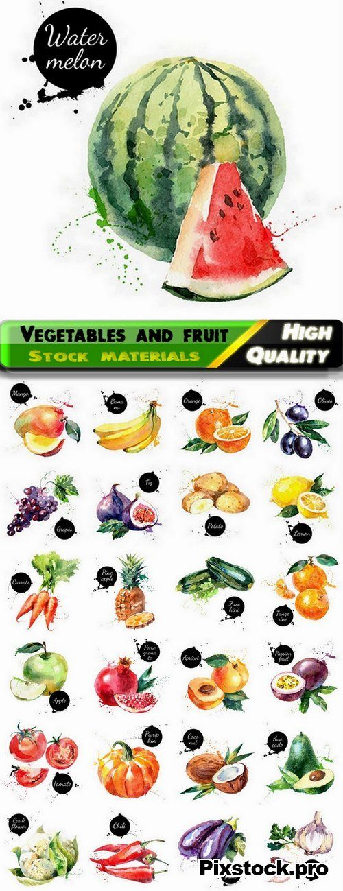 Watercolor vegetables and fruit creative atr – 25 Eps