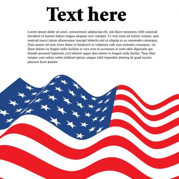 Wavy american flag with sheet of paper