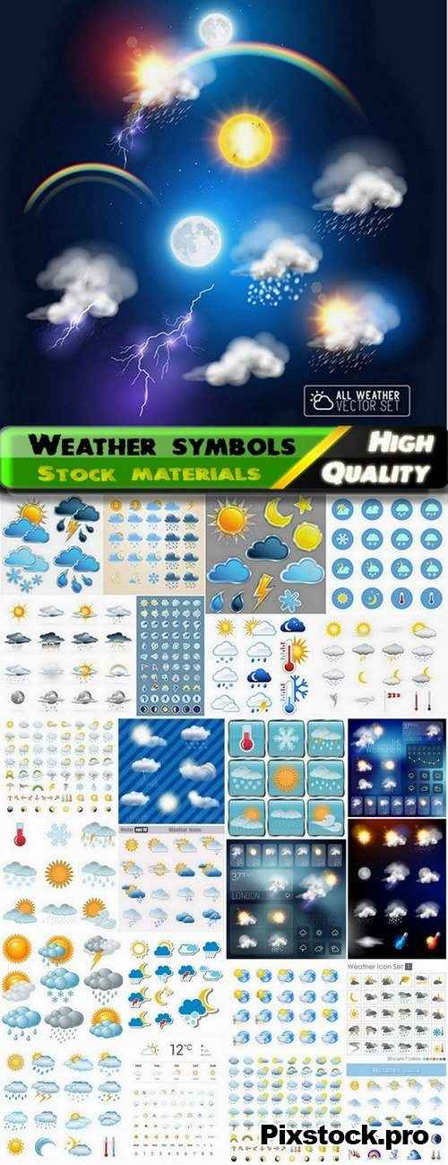 Weather symbols icons and signs