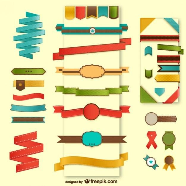 Web elements ribbons set