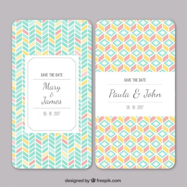 Wedding invitation with geometric pattern