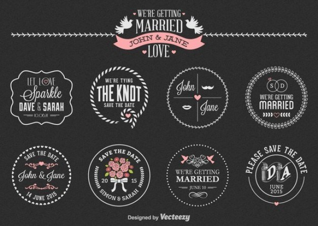Wedding label set  Vector | Free Download