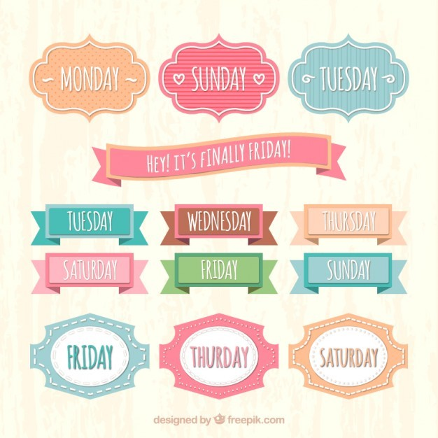 Weekly labels in retro style  Vector | Free Download