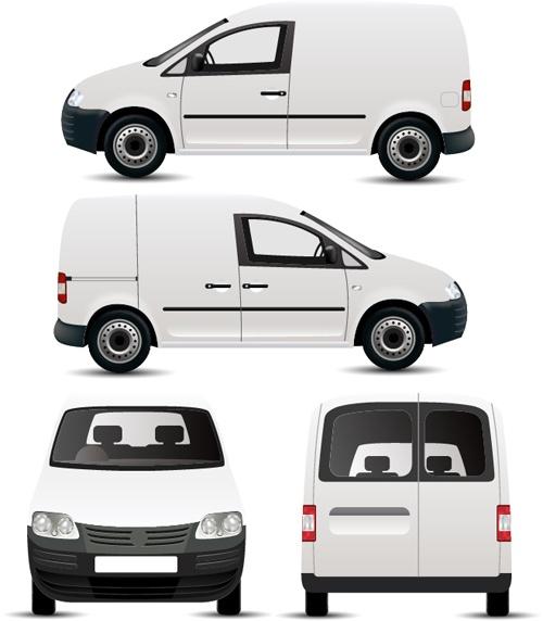 White minivan illustration vector 01