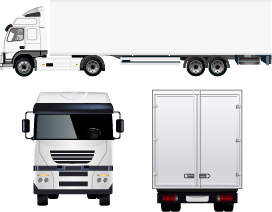 White truck with trailer vector material