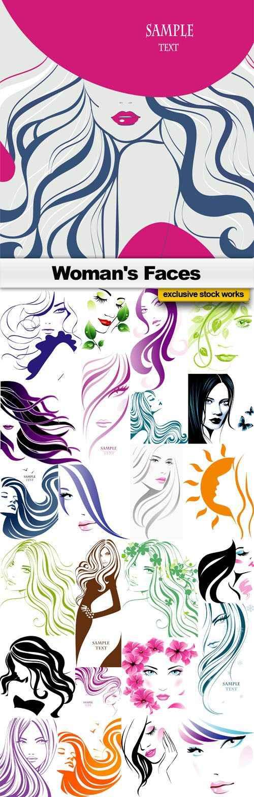 Woman's Faces – 25x EPS