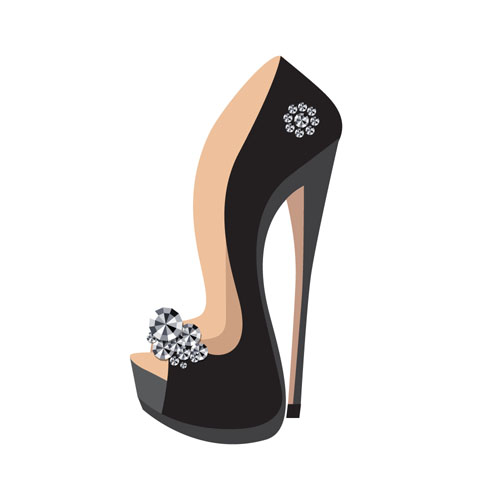 Women high-heeled shoes vector illustration 03