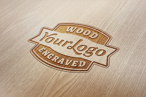 Wood Engraved Logo MockUp | GraphicBurger