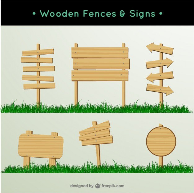Wooden fences and signs  Vector | Free Download