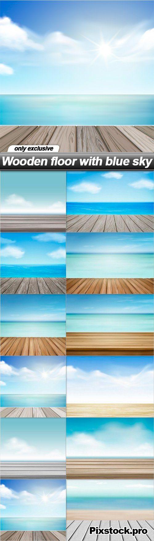 Wooden floor with blue sky – 12 EPS