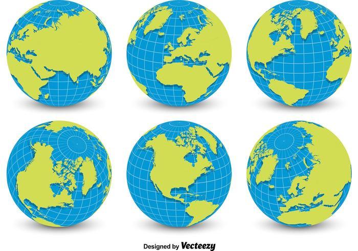 World Globe Grid Vectors