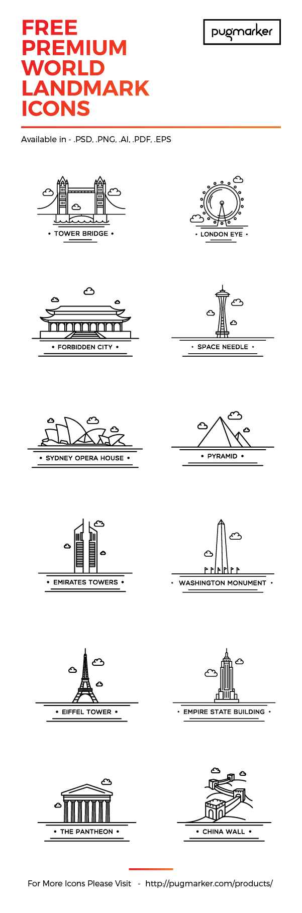 World Landmark: 12 Free Icons | GraphicBurger
