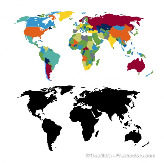 World map cartography business black colorful travel smart  Vector | Free Download
