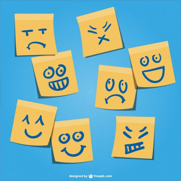 Yellow post-it emotions vector   Vector | Free Download