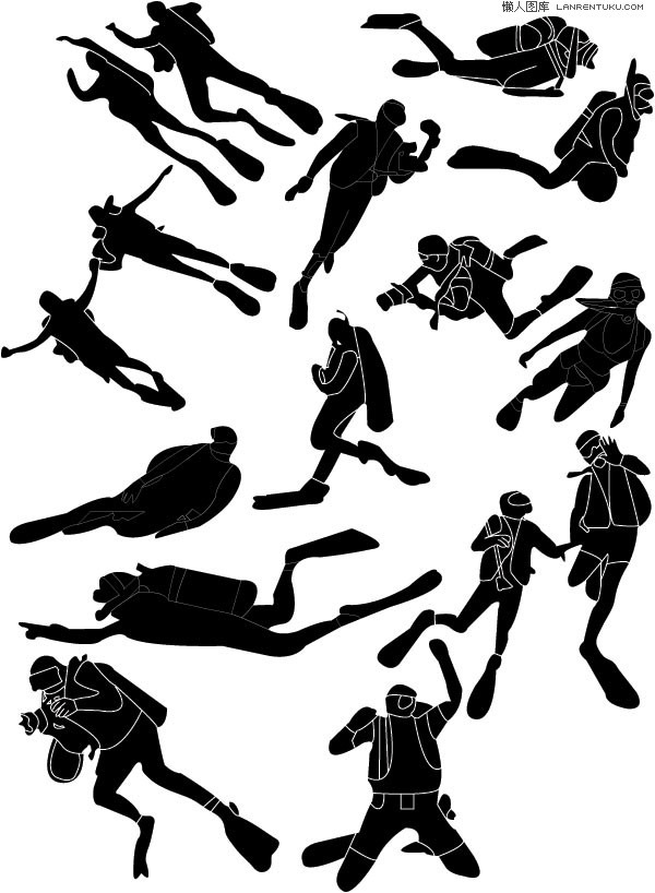 A group of diving sports figures silhouette