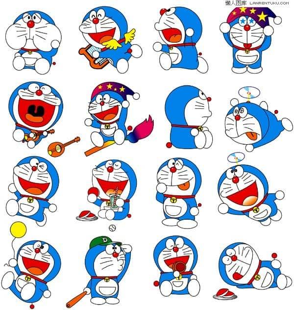 A variety of cute cartoon Doraemon vector material