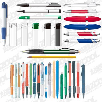 Advertising gift pen and lighter material vector