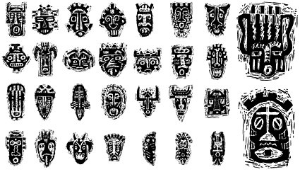 African tribal mask pattern vector material