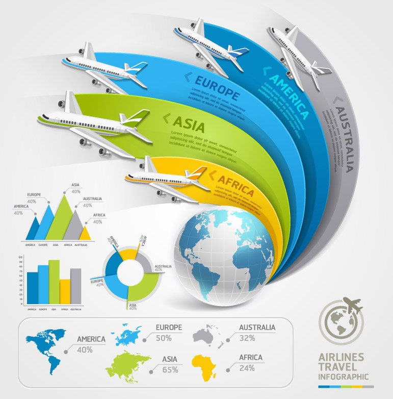 Air travel information map vector material