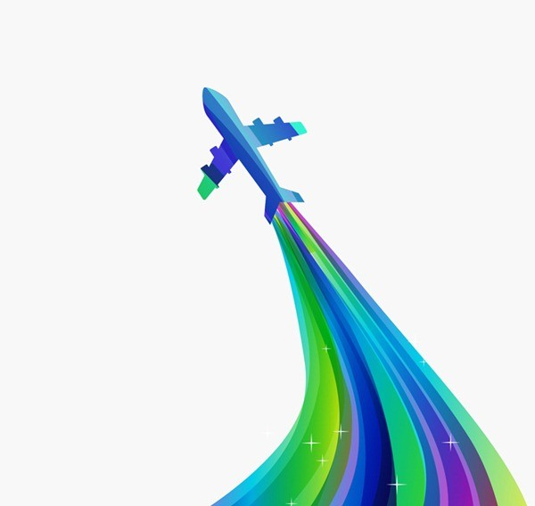 Aircraft and creative color locus vector graphics
