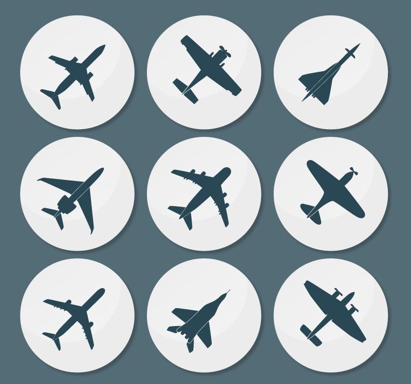9 aircraft circular icon vector material