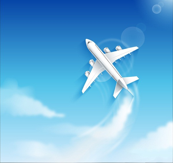 Aircraft flying in the sky vector graphics