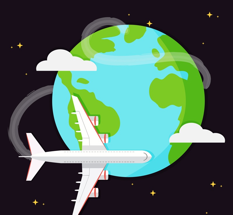 Airplane flight around the world illustrator vector material