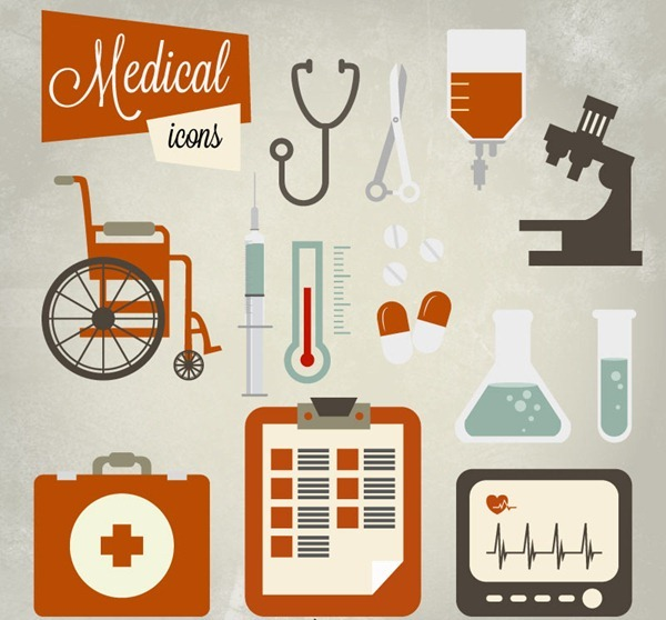 Ancient medical icon vector material
