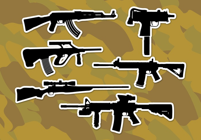 Ar15 Rifles Vector Icons