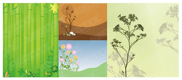 Bamboo and flowers, vector material