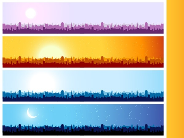 City silhouette banner background vector material