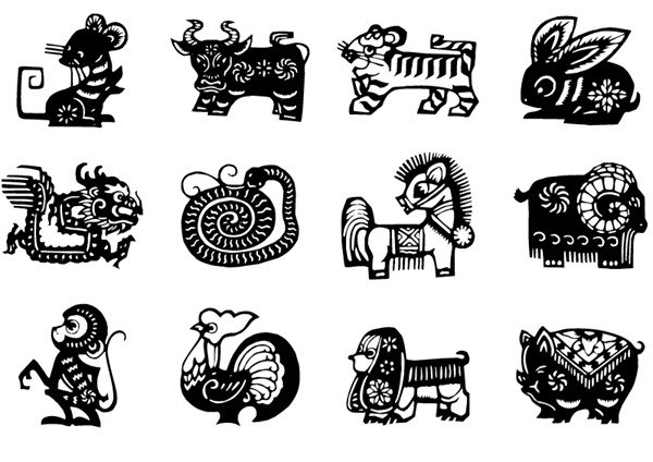 Black Zodiac paper-cut vector graphics