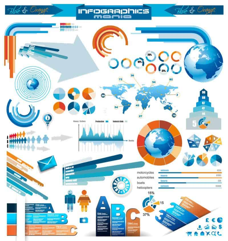 Blue and orange line infographics vector material practical