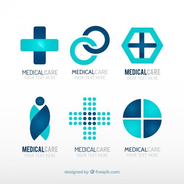 Blue medical center logo templates